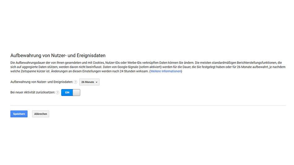 google analytics datenaufbewahrung